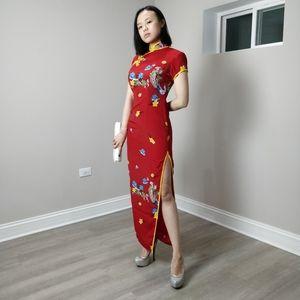 NWOT floral red modern qipao long cheongsam